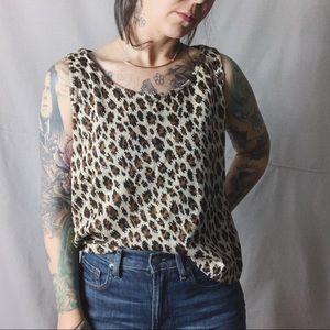 ST. JOHN Santana Knit Leopard Print Tank Medium